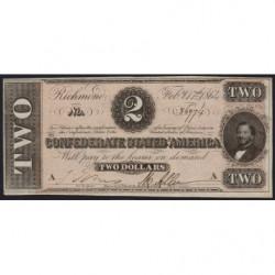 Etats Conf. d'Amérique - Pick 66b - 2 dollars - Lettre A - 17/02/1864 - Etat : pr.NEUF