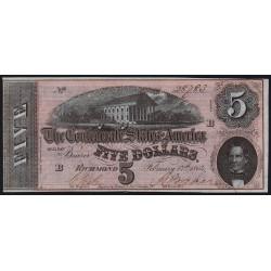 Etats Conf. d'Amérique - Pick 67 - 5 dollars - Lettre B - 17/02/1864 - Etat : pr.NEUF