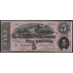 Etats Conf. d'Amérique - Pick 67 - 5 dollars - Lettre B - 1864 - Etat : pr.NEUF
