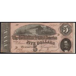 Etats Conf. d'Amérique - Pick 67 - 5 dollars - Lettre D - 17/02/1864 - Etat : SPL