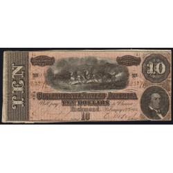 Etats Conf. d'Amérique - Pick 68 - 10 dollars - Lettre C - 17/02/1864 - Etat : TTB-