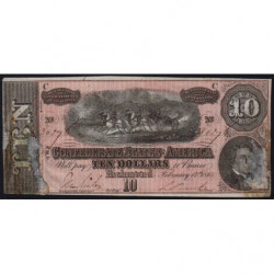 Etats Conf. d'Amérique - Pick 68 - 10 dollars - Lettre C - 1864 - Etat : B