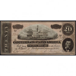 Etats Conf. d'Amérique - Pick 69 - 20 dollars - Lettre C - 17/02/1864 - Etat : TTB+
