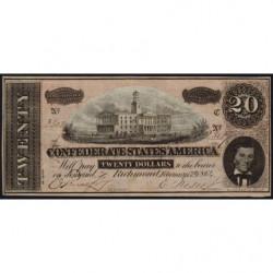 Etats Conf. d'Amérique - Pick 69 - 20 dollars - Lettre C - 1864 - Etat : TTB+