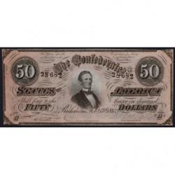 Etats Conf. d'Amérique - Pick 70 - 50 dollars - Lettre A - 17/02/1864 - Etat : SUP