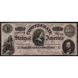 Etats Conf. d'Amérique - Pick 71 - 100 dollars - Lettre A - 17/02/1864 - Etat : SUP+