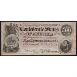 Etats Conf. d'Amérique - Pick 73 - 500 dollars - Lettre C - 17/02/1864 - Etat : TB+