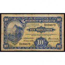 Gibraltar - Pick 14c - 10 shillings - Série D - 01/07/1954 - Etat : TB-