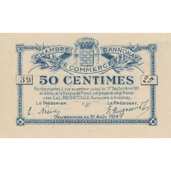 Annonay - Pirot 11-7 - 50 centimes - 1914 - Etat : SPL