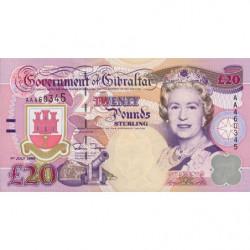 Gibraltar - Pick 27a - 20 pounds - Série AA - 01/07/1995 - Etat : NEUF