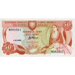 Chypre - Pick 52_2 - 50 cent - 01/10/1988 - Etat : NEUF