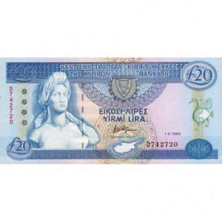 Chypre - Pick 56b - 20 livres - 01/03/1993 - Etat : NEUF