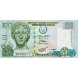 Chypre - Pick 62c - 10 livres - 2001 - Etat : pr.NEUF