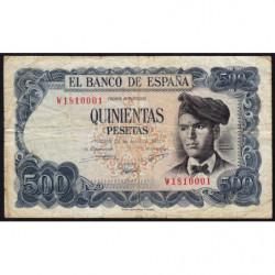 Espagne - Pick 153 - 500 pesetas - 23/07/1971 - Série W - Etat : TB-