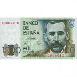 Espagne - Pick 158 - 1'000 pesetas - 23/10/1979 - Série DD - Etat : NEUF