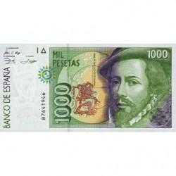 Espagne - Pick 163 - 1'000 pesetas - 12/10/1992 - Série B ou F - Etat : NEUF