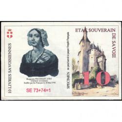 Billet savoisien - 10 Livres savoisiennes - 1998 - Etat : TTB+