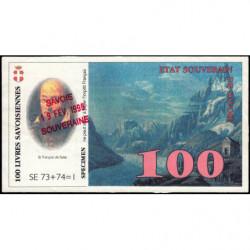 Billet savoisien - 100 Livres savoisiennes - 1998 - 2ème émission - Etat : TTB+