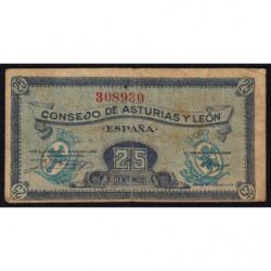 Espagne - Asturias y Leon - Pick S601 - 25 centimos - 1936 - Etat : TB