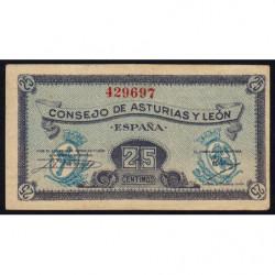 Espagne - Asturias y Leon - Pick S601 - 25 centimos - 1936 - Etat : SUP+