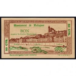 Espagne - Balaguer - Pick non rép. - 50 centimos - 05/08/1937 - Etat : pr.NEUF