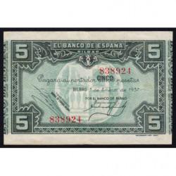 Espagne - Bilbao - Pick S561a - 5 pesetas - 01/01/1937 - Etat : TTB+