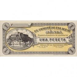 Espagne - Dénia - Pick non rép. - 1 peseta - 26/09/1936 - Etat : SPL