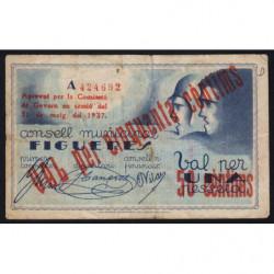 Espagne - Figueres - Pick non rép. - 50 cèntims - 31/05/1937 - Etat : TB