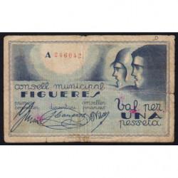 Espagne - Figueres - Pick non rép. - 1 pesseta - 03/1937 - Etat : TB