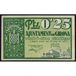 Espagne - Girona - Pick non rép. - 25 centimos - 25/06/1937 - Etat : NEUF