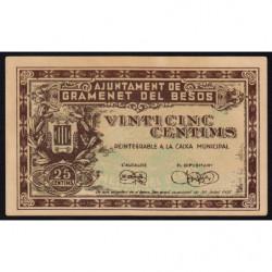 Espagne - Gramenet del Besos - Pick non rép. - 25 centims - 30/07/1937 - Belle variété - Etat : SUP+