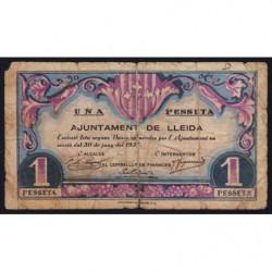 Espagne - Lleida - Pick non rép. - 1 pesseta - 30/06/1937 - Etat : B