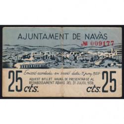 Espagne - Navàs - Pick non rép. - 25 centims - 11/06/1937 - Etat : TB+