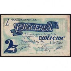 Espagne - Puigcerdà - Pick non rép. - 25 cèntims - 06/1937 - Etat : TB+
