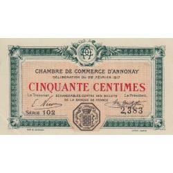 Annonay - Pirot 11-9 - 50 centimes - 1917 - Etat : SPL
