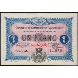 Algérie - Constantine 140-15 - 1 franc - Série 45 - 01/12/1917 - Etat : SUP+