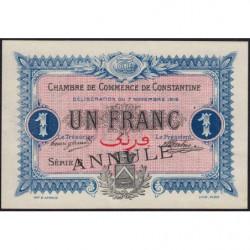 Algérie - Constantine 140-11 annulé - 1 franc - Série 6 - 07/11/1916 - Etat : SUP+