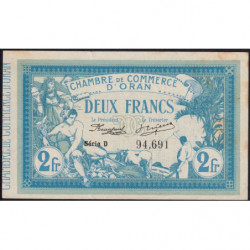 Algérie - Oran 141-03 - 2 francs - Série D - 12/05/1915 - Etat : SUP