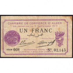 Algérie - Alger 137-1 - 1 franc - Série 608 - 03/09/1914 - Etat : TB