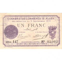 Algérie - Alger 137-1 - 1 franc - Série 147 - 03/09/1914 - Etat : TTB