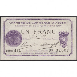 Algérie - Alger 137-1 - 1 franc - Série 131 - 03/09/1914 - Etat : NEUF
