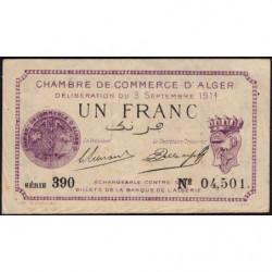 Algérie - Alger 137-1 - 1 franc - Série 390 - 03/09/1914 - Etat : TTB