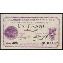 Algérie - Alger 137-1 - 1 franc - Série 392 - 03/09/1914 - Etat : SPL