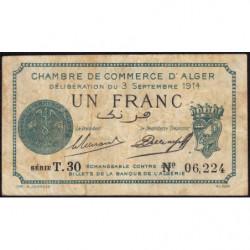 Algérie - Alger 137-4 - 1 franc - Série T.30 - 03/09/1914 - Etat : TB-