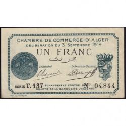 Algérie - Alger 137-4 - 1 franc - Série T.137 - 03/09/1914 - Etat : SUP+