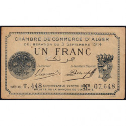 Algérie - Alger 137-4 - 1 franc - Série T.448 - 03/09/1914 - Etat : TB+