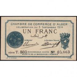 Algérie - Alger 137-4 - 1 franc - Série T.503 - 03/09/1914 - Etat : SPL