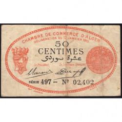 Algérie - Alger 137-5 - 50 centimes - Série 497 - 13/01/1915 - Etat : B+
