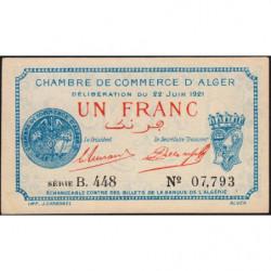 Algérie - Alger 137-20 - 1 franc - Série B.448 - 22/06/1921 - Etat : SUP+