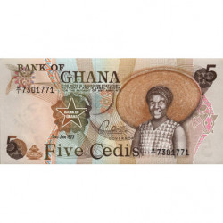 Ghana - Pick 15b_1 - 5 cedis - Série M/1 - 02/01/1977 - Etat : NEUF